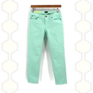 J Crew Sea foam Green Toothpick Crop Pants 26